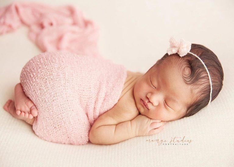 10 days old newborn baby girl portrait in singapore